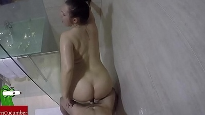 Fucked in the transparent shower