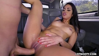 Gorgeous juicy ass brunette latina gets fucked in the bus
