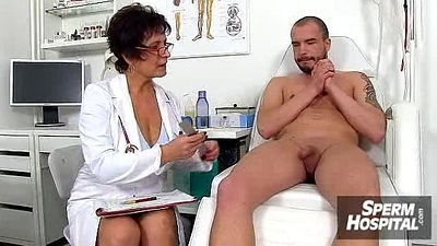 Sexy uniform lady jerks off a boy patient feat. doctor Marta