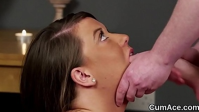 Slutty stunner gets cumshot on her face sucking all the cum