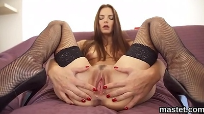 Nasty czech girl spreads her spread cunt to the strange