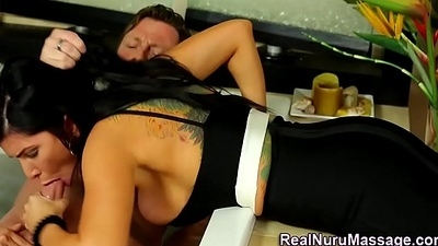 Jizz mouth cute masseuse