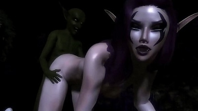 Horny night elf gets satisfied by a goblin