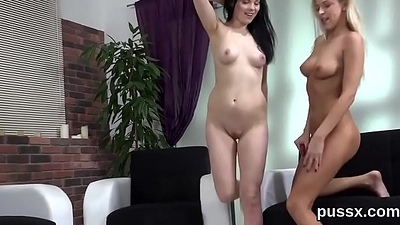 Lovesome czech girls open up their butts with buttplug and long dongs